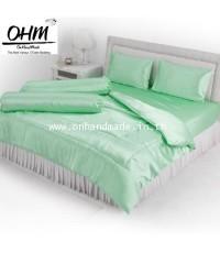 ผ้านวมคลุมเตียง ผ้าซาตินแท้ 440 เส้น ขนาด 6 ฟุตพิเศษ (ขนาด 90 นิ้ว x 100 นิ้ว) สีเขียวมินต์