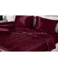 ผ้านวมผ้าซาตินแท้ 440 เส้น ขนาด 5 ฟุต (ขนาด 60 นิ้ว x 80 นิ้ว) สีแดงเลือดนก