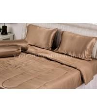 ผ้านวมคลุมเตียง ผ้าซาตินแท้ 440 เส้น ขนาด 6 ฟุตพิเศษ (ขนาด 90 นิ้ว x 100 นิ้ว) สีน้ำตาลอ่อน