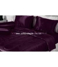 ผ้านวมคลุมเตียงไมโคร ผ้าซาตินแท้ 440 เส้น ขนาด 6 ฟุตพิเศษ (ขนาด 90 นิ้ว x 100 นิ้ว) สีเบอร์กันดี