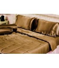ผ้านวมคลุมเตียงไมโคร ผ้าซาตินแท้ 440 เส้น ขนาด 6 ฟุตพิเศษ (ขนาด 90 นิ้ว x 100 นิ้ว) สีน้ำตาลกาแฟ