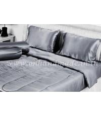 ผ้านวมคลุมเตียง ผ้าซาตินแท้ 440 เส้น ขนาด 6 ฟุตพิเศษ (ขนาด 90 นิ้ว x 100 นิ้ว) สีเทาเงิน