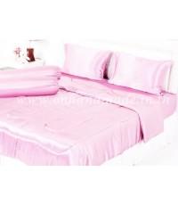 ผ้านวมคลุมเตียงไมโคร ผ้าซาตินแท้ 440 เส้น ขนาด 6 ฟุตพิเศษ (ขนาด 90 นิ้ว x 100 นิ้ว) สีชมพูพาสเทล