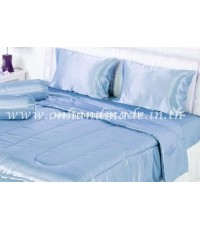 ผ้านวมคลุมเตียงไมโคร ผ้าซาตินแท้ 440 เส้น ขนาด 6 ฟุตพิเศษ (ขนาด 90 นิ้ว x 100 นิ้ว) สีฟ้าพาสเทล
