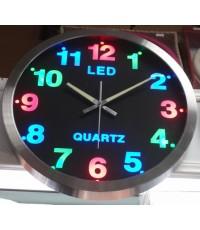 นาฬิกาแขวนผนัง LED หลายสีตัวเลขส่องสว่าง
