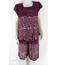 ชุดนอนผ้าบาติก ( เสื้อคู่กางเกง ) แบบ คอสี่เหลี่่ยม แขนระบาย