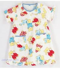 ชุดนอนเด็กหญิง ไซส์ 1-2 ผ้ายืด (ชุดกระโปรงแขนสั้น แบบคอระบาย กระดุม 1 เม็ด) คลิกดูลายเพิ่มเติม