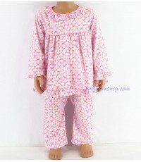 ชุดนอนเด็กหญิง ไซส์ 1-2 แขนยาว ขายาว ผ้ายืด (แบบคอระบาย2 กระดุมผ่าหน้า ) คลิกดูลายเพิ่มเติม