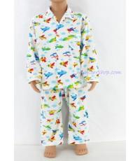ชุดนอนเด็กชาย ไซส์ 1-2 แขนยาว ขายาว ผ้ายืด (แบบคอปก กระดุมผ่าหน้า) คลิกดูรายละเอียดเพิ่มเติม