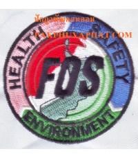 ปักอาร์มโลโก้บริษัท FOS งานปักส่งเสื้อไปบริษัทที่ใช้อยู่ที่ต่างประเทศ
