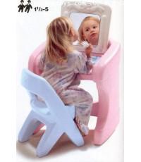 โต๊ะเครื่องแป้ง + เก้าอี้  #  7617  Powder  Puff  Vanity & Chair