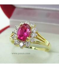 แหวนพลอยทับทิม ล้อมเพชร แหวนทับทิม สีแดง แหวนทองไมครอน เบอร์แหวน58 (RRb074)