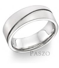 s014 แหวนเซาะร่อง แนวทะแยง แหวนเงินเกลี้ยง แหวนเงินแท้ เรียบๆ แต่ดูดี
