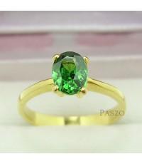 แหวนมรกต เม็ดเดี่ยว แหวนทองไมครอน 18k ฝังพลอยมรกต 1 กะรัต (REm077)