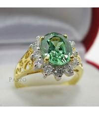 แหวนมรกตล้อมเพชรน้ำงาม แหวนทองไมครอน (REm0106)