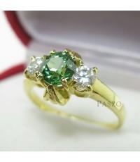แหวนมรกต เม็ดกลม ประดับเพชรน้ำงามด้านข้าง แหวนทองไมครอน (REm150)