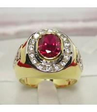 แหวนผู้ชายฝังพลอยทับทิม 3กะรัต ล้อมเพชร ตัวเรือนทองไมครอน (MRRb020)