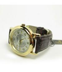 นาฬิกาข้อมือสำหรับผู้ชาย แบบเข็ม หน้าปัดกลม ตัวเรือนทอง สายหนังแท้ลาย จระเข้ (wm036)