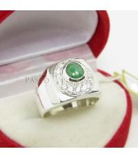 แหวนหยกสีเขียว ล้อมเพชร สุดหรู แหวนเงินแท้ 925 สำหรับผู้ชายนิ้วเรียวเล็ก (SMRJe005)