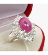 แหวนเงินแท้ แหวนทับทิมแอฟริกาแท้ ล้อมรอบด้วยเพชร (SRRb009)