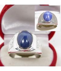 แหวนพลอยยี่หร่า พลอยไพลินสตาร์ หลังเบี้ย แหวนเงินแท้ 925 ตัวแหวนแกะลายไทย สวยงาม (SMRSs001)