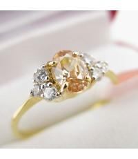 แหวนพลอยซิทริน ประดับเพชร แบบน่ารัก ตัวแหวนทองไมครอน เบอร์53 (RCt031)