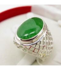 แหวนเงินแท้ 925 ลายตาข่าย ฝังหยก งานสั่งทำ เบอร์แหวน 59-72 (SMRJe007)