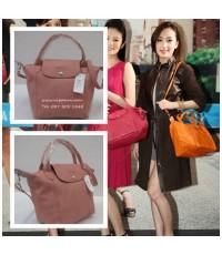 Top Mirror Image Longchamp Le Pliage Cuir Handbag หนังด้าน สีชมพูนู้ด