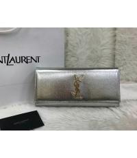 Saint Laurent Cassandre Metallic Logo Clutch Bag, Silver MIRROR 1:1