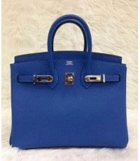 Hermes Birkins 25 cm  สีน้ำเงิน Electric Blue อะไหล่เงิน Togo leather  Top mirror image 7 stars