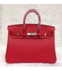 Hermes Birkins 25 cm  สีแดงอะไหล่เงิน Togo leather  Top mirror image 7 stars