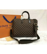 LOUIS VUITTON Porte-Documents Jour Bag Damier Ebene Top Mirror Image 7 stars