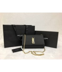 Yves Saint Laurent YSL Black Leather Gold Chain Wallet on Chain Purse WOC MIRROR 1:1