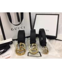 Gucci Leather belt with Double G buckle ขนาด 1.2 นิ้ว งานเกรดดีที่สุดค่ะ