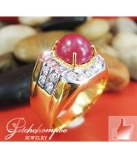 แหวนทับทิมพม่าฝังเพชร