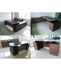 ชุดโต๊ะทำงานไม้ผู้บริหาร แบบลายไม้