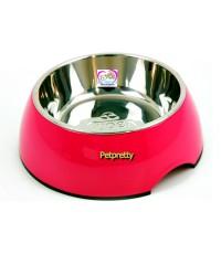 ชามอาหารสุนัขเมลามีน+ชามแสตนเลสSUPERพร้อมกันลื่นอย่างดี size Mสินค้านำเข้า หลายสีคลิกเลือกได้