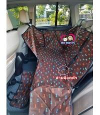ผ้าคลุมเบาะรองหลังรถยนต์กันขนสุนัข-แมวนำเข้าอย่างดี ลายสนัขพื้นน้ำตาล ขนาด 160x130x35 cm แบบ2ที่นั่ง