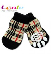 ถุงเท้าสุนัข-แมวนำเข้า มียางกันลื่น ลายสกีอตไซส์ L (จัดส่งฟรี)