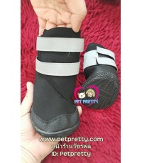 รองเท้าสุนัขไซส์ใหญ่ ผ้ายูริเทนไม่อับไซส์6  รุ่นรัดข้อแถบตีนตุ๊กแกสะท้อนแสง มียางหนากันลื่นใต้เท้า
