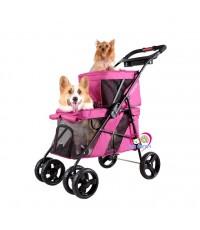 ส่งฟรี NEW รถเข็นสุนัขIbiyaya  2 ชั้น รุ่นDouble Decker รองรับนน.สุนัข 6+12 กก.สีแดงอมชมพู