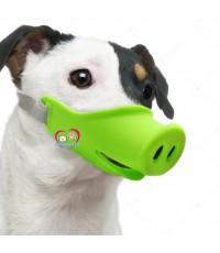 +สีเขียว+มีรูระบายไม่ร้อน ที่ครอบปากสุนัขป้องกันกัดปากหมู size M วัสดุนิ่ม Pig Mask