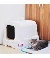 กระบะทรายแมว แบบโดม ลายเชือกถัก มีที่เก็บถุงเก็บอึ วัสดุอย่างดี สีขาว/น้ำตาล