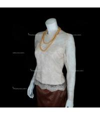 ชุดไทยเสื้อบรมพิมาน (ลูกไม้) กระโปรงป้ายยาว