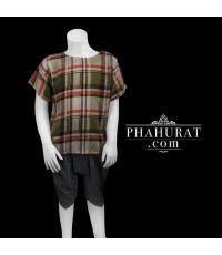 ชุดไทยเด็กชาย ลายตาราง(ผ้านิ่ม)