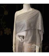 ชุดไทยจักรพรรดิ สไบกากเพชร สีเทาอ่อน