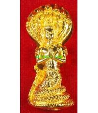 รูปหล่อปู่ศรีสุทโธนาคราช หลวงปู่เหมือน สำนักสงฆ์บ้านดงเจริญ เนื้อชนวนชุบทองคำแท้อุดผงแร่เหล็กไหล