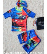 ชุดว่ายน้ำเด็ก เสื้อ+กางเกงขาสั้น คาร์(Cars) พร้อมหมวก+ถุงผ้า Size XS