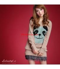 เสื้อกันหนาวแสนน่ารัก ลายหมีสีฟ้าแสนน่าัรักคอกลม เนื้ิอผ้า cotton ใส่สบาย แฟชั่นนำเข้าจากเกาหลีแสนสว
