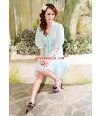 เดรสสั้นคอจีนสีฟ้าสดใสแสนสวย แขนสี่ส่วนเนื้อผ้า cotton ผูกริบบิ้นตรงคอเสื้อแสนน่ารัก แฟชั่นนำเข้าจาก